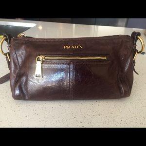 Prada: brown, leather hobo bag
